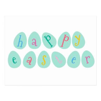 Huevos de Pascua felices en aguamarina Postal