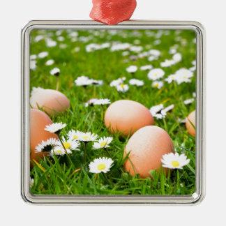 Huevos del pollo en hierba con las margaritas adorno de cerámica