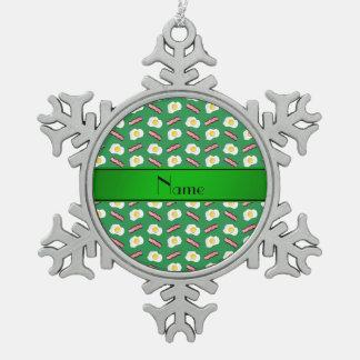 Huevos verdes conocidos personalizados del tocino adorno de peltre en forma de copo de nieve