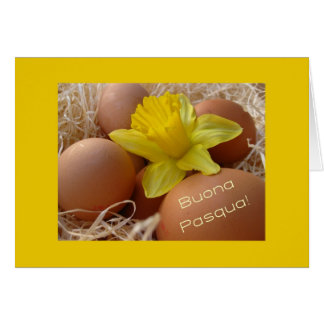 Huevos y saludo de pascua del narciso - italiano felicitación
