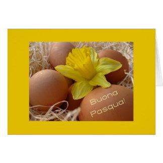 Huevos y saludo de pascua del narciso - italiano tarjeta de felicitación