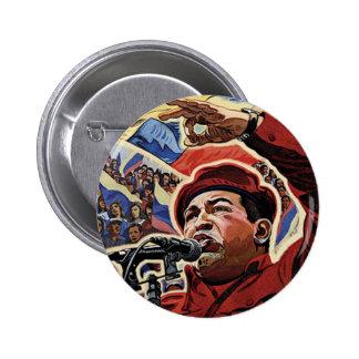 Hugo Chavez - estilo de la revolución del dibujo Chapa Redonda De 5 Cm