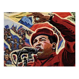 Hugo Chavez - estilo de la revolución del dibujo Postal