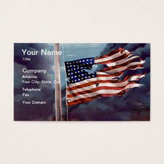 Humo caido pero no olvidado y bandera rasgada tarjeta de negocios