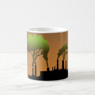 Humo de la fábrica taza
