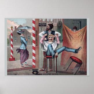 Humor 1882 de la barbería del vintage: El galán Póster