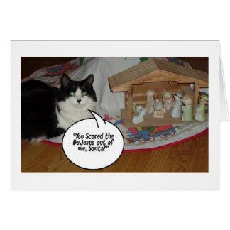 Humor blanco y negro del gato del navidad tarjeta de felicitación