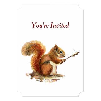 Humor de la ardilla del cumpleaños del Bbq del Invitación 12,7 X 17,8 Cm