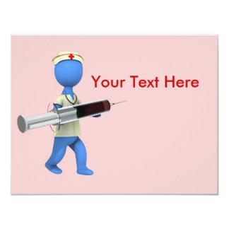 Humor de la enfermera invitación 10,8 x 13,9 cm