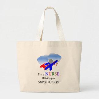 Humor de la enfermera, super héroe de la enfermera bolsa de tela grande