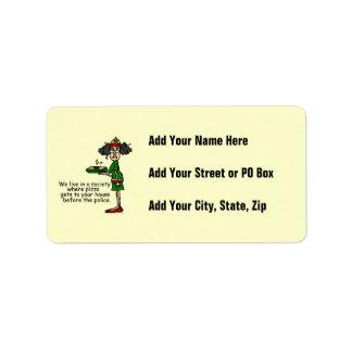 Humor de la entrega de la pizza etiquetas de dirección