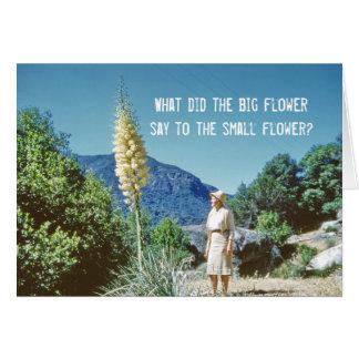 Humor de la flor tarjeta de felicitación