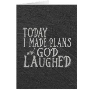 Humor de la pizarra en la fabricación de planes tarjeta de felicitación