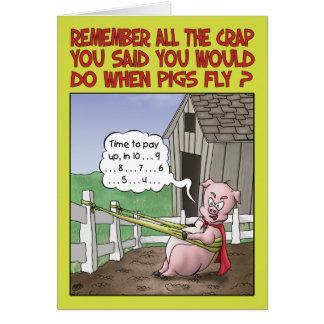Humor del cumpleaños, cuando los cerdos vuelan tarjeta de felicitación
