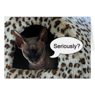 Humor del cumpleaños del gato de la esfinge tarjeta de felicitación