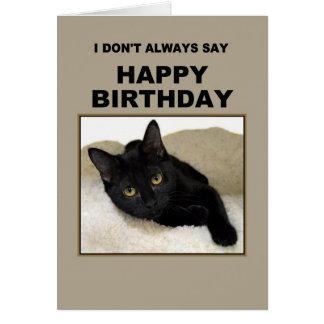 Humor del cumpleaños del gato negro tarjeta de felicitación