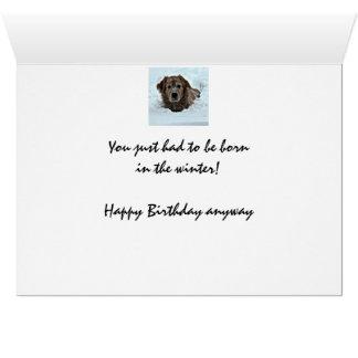 Humor del cumpleaños del invierno con el perro lin tarjeta