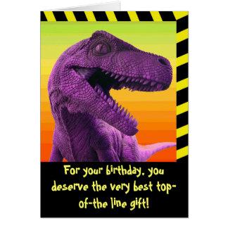 Humor del dinosaurio tarjeta de felicitación