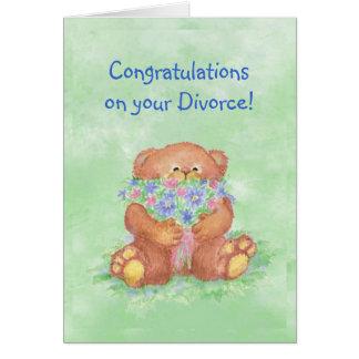Humor del divorcio de la enhorabuena, flores del o tarjeta de felicitación