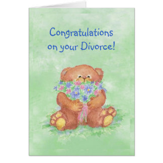 Humor del divorcio de la enhorabuena, flores del tarjeta de felicitación