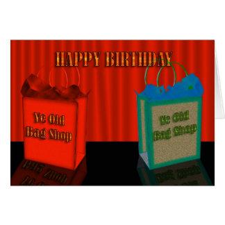 Humor del feliz cumpleaños, dos bolsos viejos tarjeton