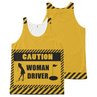 Humor del golf del conductor de la mujer de la camiseta de tirantes con estampado integral