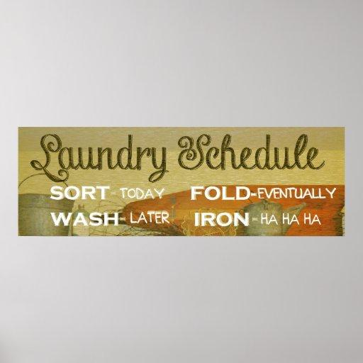 Humor del horario del lavadero impresiones