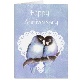 Humor del pájaro del amor del aniversario de la di tarjeton