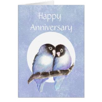Humor del pájaro del amor del aniversario de la di tarjeta de felicitación