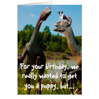 Humor del perrito del dinosaurio tarjeta de felicitación