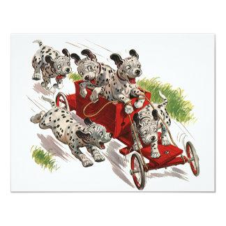 Humor del vintage, coche de bomberos dálmata de invitación 10,8 x 13,9 cm