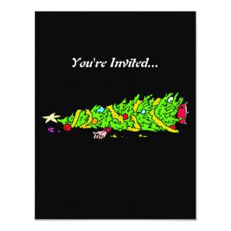 Humor divertido del árbol de navidad invitación 10,8 x 13,9 cm