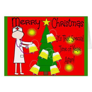 Humor divertido y torcido de la enfermera del navi tarjeta de felicitación