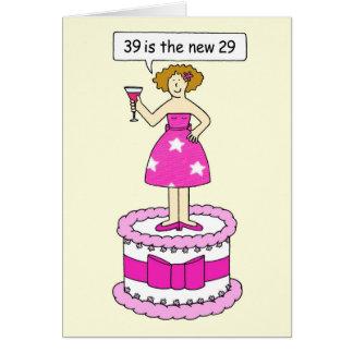 Humor femenino de la edad, 39.o cumpleaños tarjeta de felicitación