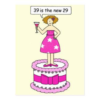 Humor femenino de la edad, 39.o cumpleaños postal