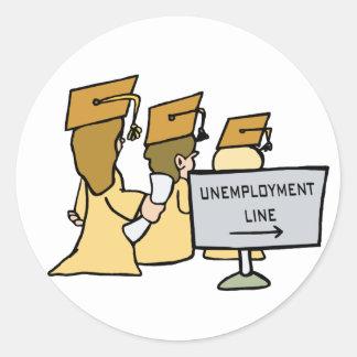 Humor graduado del desempleo pegatinas redondas