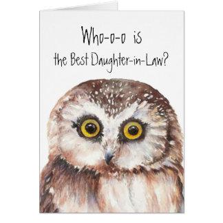 Humor lindo del búho de la mejor nuera de encargo tarjeta de felicitación