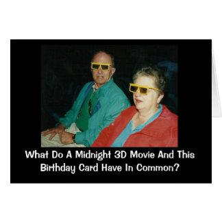 humor tardío del cumpleaños de la película 3D Tarjeta De Felicitación