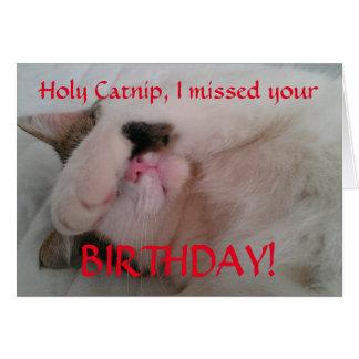 Humor tardío del gato del cumpleaños tarjeta de felicitación