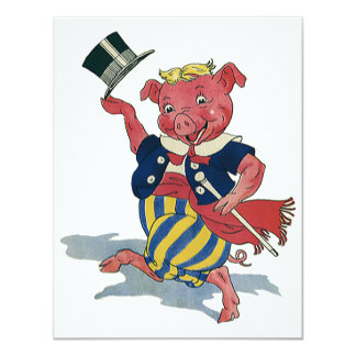 Humor tonto divertido del vintage, cerdo del baile invitación 10,8 x 13,9 cm