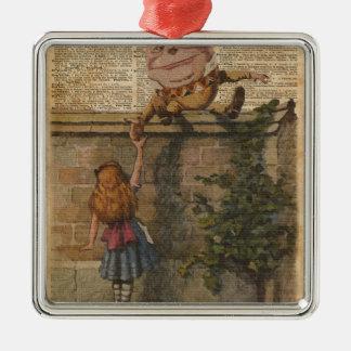 Humpty Dumpty y ejemplo de libro del vintage de Adorno Navideño Cuadrado De Metal