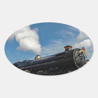 Huracanes y tren del vapor pegatina ovalada