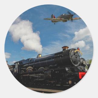 Huracanes y tren del vapor pegatina redonda