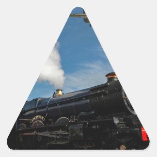 Huracanes y tren del vapor pegatina triangular