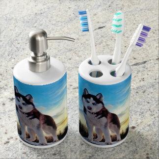 Husky siberiano sets de baño