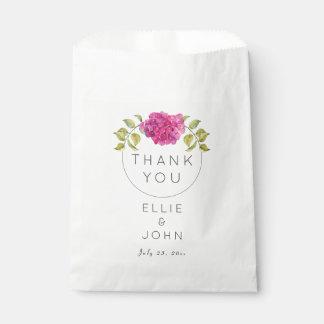 Hydrangea de las rosas fuertes del favor del boda bolsa de papel