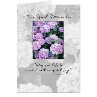 Hydrangea del cumpleaños de 3658 cuñadas tarjeta de felicitación