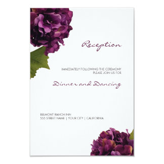 Hydrangea púrpura - tarjeta floral de la recepción invitación 8,9 x 12,7 cm
