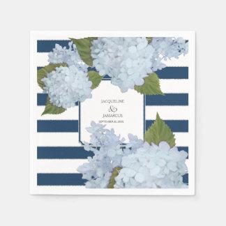 Hydrangea rayado blanco de los azules marinos servilleta desechable