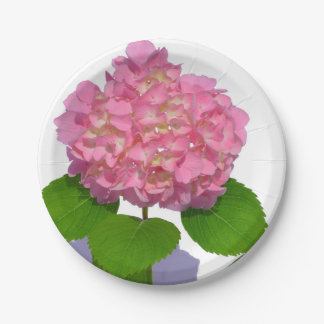 Hydrangea rosado bonito plato de papel